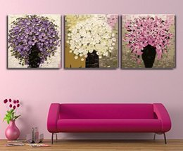 Wholesale Floral Oil Paintings - Free Shipping 100% Hand Paintings Digital Oil Painting Wall Art Knife Modern Canvas Decor Abstract Paintings