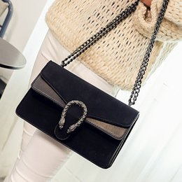 Wholesale Slotted Head - free shipping vintage suede bags handbags women famous brands snake head bag chian shoulder crossbody bag luxury designer leather handbag