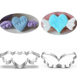 Wholesale Wedding Cutter - 2pcs angel heart cookie cutter Patisserie gateau wing wedding baking tools party biscuit pastry mold candy bread mould