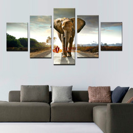 Wholesale pictures elephants - 5 Panles Elephant Painting Wall Art Picture For Home Decoration Living Room picture wall decor art photos on canvas