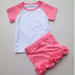 Wholesale Cute Summer Dresses For Kids - girls blank icing shorts set ruffle shorts raglan t-shirts outfit for child kids toddle shorts sets dress summer outfit for kids