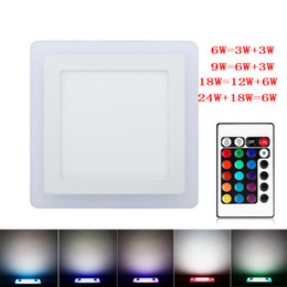 Wholesale Dual Color Led Lamp - Wholesale- Ultra Slim 6W 9W 18W 24W Dual Color RGB LED Panel Light Concealed Cool White Lamp Square Ceiling Light AC 100-265V