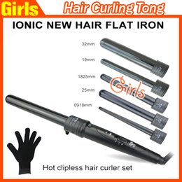 Wholesale Hot Rollers Set - 5 in 1 Curling Wand Set Hair Curling Tong Hair Curling Iron The Wand Hair Curler Roller gift Set 09-32mm Curling Wand Hot Selling