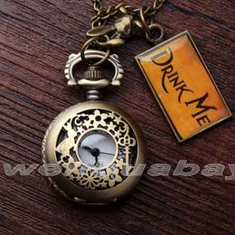 Wholesale Rabbit Watch Pendant - Wholesale-2016 Vintage DRINK ME Alice in Wonderland Rabbit Quartz Pocket Watch Retro Necklace Chain Pendant for Men Women