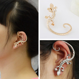 Wholesale Gecko Gold Jewelry - Good quality SALE Fashion Jewelry female Crystal Gecko Stud Earring For Women hoop statement earrings Christmas Gift