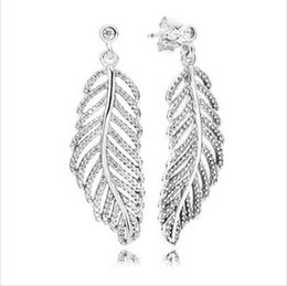 Wholesale Beads For Hoop Earrings - 100% 925 sterling silver earring feather white enamel flower earrings for pandora style thread charms bead pattern women wedding jewelry