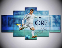 Wholesale Artworks Paintings - 5 Panel Canvas Printed Real Madrid Ronaldo Painting For Living Picture Wall Art HD Print Decor Modern Artwork Football Poster
