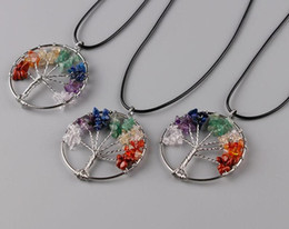 Wholesale Chip Tin - 2017 New fashion Rainbow 7 Chakra Amethyst Tree Of Life Quartz Chips Pendant Necklace Multicolor Wisdom Tree Natural Stone Necklace