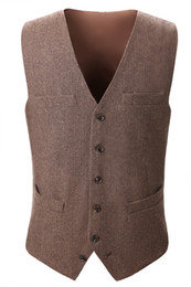 Wholesale Country Standards - 2018 Country Farm Wedding Brown Wool Herringbone Tweed Vests Custom Made Groom Vest Slim Fit Mens Suit Vest Prom Wedding Waistcoat Real Imag