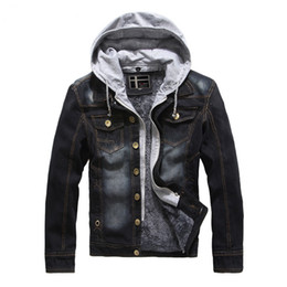 Wholesale mens overcoat spring - Mens Autumn Coats Denim Jackets Jeans Jackets Hoodies Spring Slim Fit Clothes Overcoat Brand Clothing 2017 Good Quality Warm