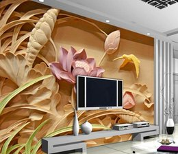 Wholesale Country Style Wedding Decorations - Wholesale - Wholesale-Wood carving lotus mural TV backdrop 3d wallpaper flower 3d wallpaper living room Home Decoration