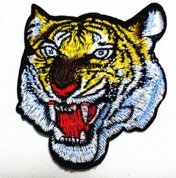 Wholesale Tiger Iron Patches - Wholesales~10 Pieces Ferocious Tiger Head (6.5 x 6.5 cmPunk Patch Embroidered Applique Iron on Patch (AL)