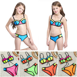 Wholesale Bra Swimwear - Girls Two-piece Bikini Swimwear Sexy New Fashion Swimming Suit Multi Color Bra Trunks Super Nylon Breathable Soft