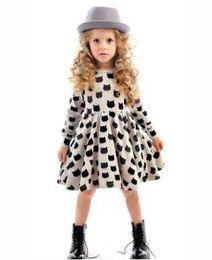 Wholesale Dress Children Leopard - baby girl autumn dress children black cat long sleeve clothes kids casual cotton dot clothing autumn princess girls dresses