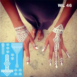 Etiqueta tribal on-line-# WL-46 Tribal Henna Branco Tatuagem Temporária Mão Decoração Etiqueta para o casamento decoração do corpo