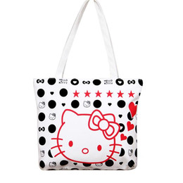 Wholesale Girls Large Shopping Bags - Wholesale-Fashion Large Space Women Canvas Handbag Zipper Shopping Shoulder Bag Paris Hello Kitty Pattern Girls Beach Bookbag Casual Tote