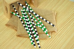 Wholesale Cheap Paper Decorations - Wholesale-BEST SELLER cheap Black and Green Football Chevron Paper Straws party decorations wedding birthday bridal baby shower favors
