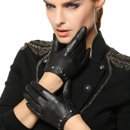 Wholesale Special Drive - Wholesale- 2017 Special Offer Women Gloves Wrist Rivet Sheepskin Glove Female Thin Genuine Leather Hip-hop Lambskin Driving Limited L096NN