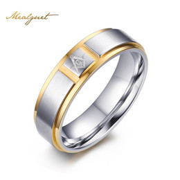 Wholesale Wide Wedding Bands - Meaeguet Men Masonic Rings Stainless Steel Gold-Color 6MM Wide Ring For Male Wedding Jewelry R-252