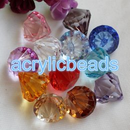 Wholesale China Plastic Beads - China Assorted Transparent Acrylic Faceted Diamond Drop Beads Plastic Pendants Charm Mixed Color Chunky Colorful DIY