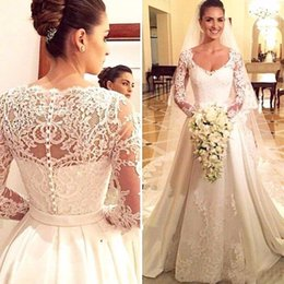 Wholesale Sexy Backless Satin Wedding Dress - Glamorous Sexy Wedding Dresses White Modern Applique Beads Sash Lace Dresses Satin Scoop Poet Long Sleeve Backless Sweep Train 2017 Misses