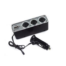 Wholesale Car Cigarette Power Splitter - 3in1 USB Port Car Cigarette Lighter Socket Auto Power Cigar Adapter Splitter For Phone MP3 for Honda Toyota for iPhone Huawei MobilePhone