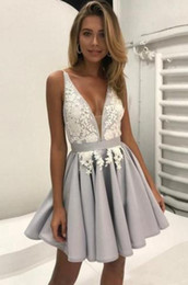 Wholesale Grey V Neck Cocktail Dress - 2018 Grey Sexy V-neck Cocktail Dresses Applique beads Knee Length Satin A-line Elegant Cheap Beads Graduation Party Dresses Short Mini Gowns