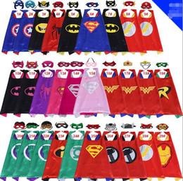 Wholesale Wholesale Fairy For Kids - 29 Style 70*70CM double-deck Super hero Capes and mask set Superhero cosplay capes+mask Halloween cape mask for Kids 2pcs set