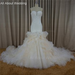 Wholesale New Sweetheart Sequin Crystals Ruffle - 2017 Cathedral Ruffle Floral Mermaid Wedding Dresses Sweetheart Crystal Beaded Tiered Layers New Design Real Photo