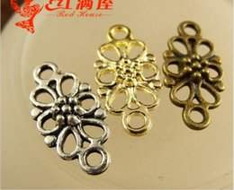 Wholesale Filigree Gold Jewelry - 16*8MM Retro fitting handmade DIY accessories wholesale shop copper filigree flower connector charms for jewelry making pendant