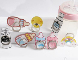Wholesale Baby Tablets - 2017 New Baby Bottle Series Rainbow Luxury Phone holders mount 360 Degree Rotation Finger ring Holder hook stent For Cell Phone Tablets Grip