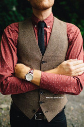 Wholesale Mens Double Breasted Vests - Vintage Brown tweed Vests Wool Herringbone British style custom made Mens suit tailor slim fit Blazer wedding suits for men plus size