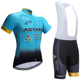 Wholesale Mens Cycle Jersey - 2017 TEAM ASTANA cycling jersey 3D gel pad bibs shorts Ropa Ciclismo quick dry pro cycling wear mens summer bike Maillot Suit