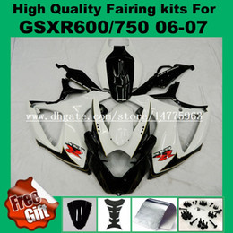 Kit de carenagem k7 gsxr on-line-Carenagem preta branca para SUZUKI GSXR600 GSXR750 06 07 K6 K7 GSX-R600 GSX-R750 2006 2007 GSXR 600 750 06 07 kit de carenagens + 9Gifts
