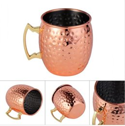 Wholesale Copper Drink - Hammered Copper Plated Copper Moscow Mule Mug Stainless Steel Hammered Copper Mug Drum Cocktail Drink Cups 200pcs KKA1642