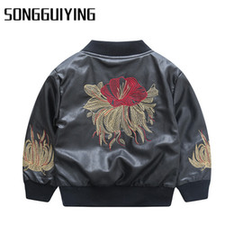 Wholesale Kids Leather Jacket 3t - SONGGUIYING A31 Autumn Toddler Infant Baby Boys Kids Girls Children's Clothes Leather PU Jackets Coat Outwear Clothing Coats