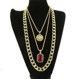 Wholesale Simulated Ruby - Iced Out Gold Plated Miami Cuban Link Red Ruby Chain Combo 3 Necklace Set Men Fashion Hip Hop Simulated Diamond Punk Necklace