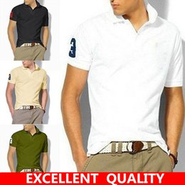 Wholesale Horse Pullover - Brand quality Cotton Men polo shirt Fashion Big Horse Embroidery turn-down collar short sleeve Casual Solid slim Pullover plus size Hot sell