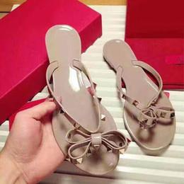 Wholesale Shoes Women Studs - Yuf14 Footwear Flip Slippers Stud Rivets Jelly Shoes Genuine Leather Summer Beach Flip Flops Casual Sandals Shoes Women Sz 35-39