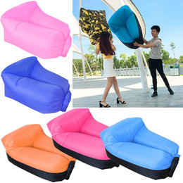 Wholesale Camping Chair Wholesale - Inflatable Neck Pillow Lounger Air Sofa Chair Comfortable Outdoor Beach Camping Hiking Lazy Sofa Bed 19 Colors dhl OTH526