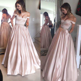 Wholesale Cheap Eveing Gowns - 2017 Pearl Pink Off The Shoulder Prom Dresses Long Cheap Sexy Beaded Sash With Pockets Floor Length Formal Party Eveing Gown EN4203