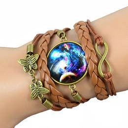 Wholesale Space Bar - Wholesale- 2016 Mini New Galaxy Bracelets Lovely Galaxy Nebula Space Glass Bracelets Suede Leather Bracelet Bangle Best Friend Fashion Gift