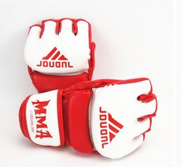 Wholesale Boxe Thai - 2017 New Arrival Men MMA PU Boxing Gloves Sandbag Taekwondo Muay Thai Fight Boxe De Luva Training Sports Gloves red white