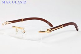 Wholesale Clear Lens Wood Glass - brand designer sunglasses for mens 2017 fashion wood frame rimless retro buffalo horn glasses brown black clear lenses come with cases