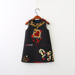 Wholesale Dress Neck Heart - Everweekend Girls Letter Heart Print Dress Lovely Kids Black Color Clothes Cute Baby Western Fashion Fall Party Clothing