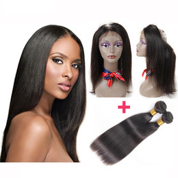 weave frontals Coupons - Pre Plucked Brazilian Straight Hair Weaves With 360 Full Lace Frontals Closures Virgin Human Hair With Bady Hair