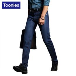Wholesale Denim Sweat - Wholesale- Men's Jeans Straight Biker Jeans Men 2017 Spring Autumn Fashion Business Casual Pants Denim Blue Sweat Mens Male Pants Trousers