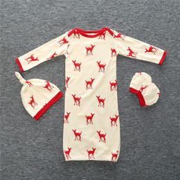 Wholesale Sleeping Rompers For Baby - 2017 4colors deer printed new spring infant baby clothing for newborn sleeping bags (rompers+glove+cap)sleep sack animal for 0-2years old