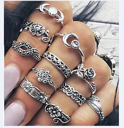 Wholesale Ethnic Silver Rings - Bohemia Elephant Carved Midi Knuckle Ring Set Women Ethnic Antique Silver Color Flower Moon Rings Boho Beach Charm Finger Rings