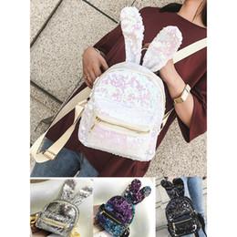 Wholesale Girls Shops - 2018 New Baby Girls Sequins Mini Backpack Cute Rabbit Ears Bag Shopping Shoulder Bag 5 Size
